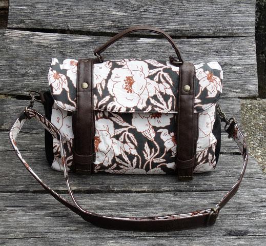 sac à main cartable femme faux cuir marron tissu noir coquelicots 3 compartiments