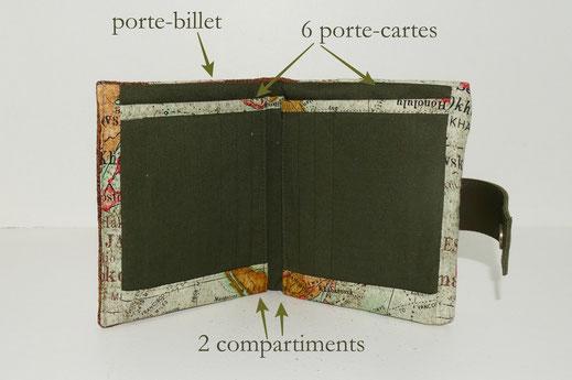 agencement intérieur portefeuille homme 6 porte-cartes 2 compartiments porte-billet patte de fermeture