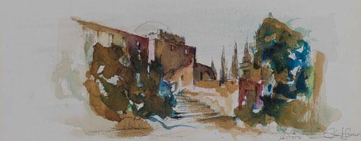 Aquarell Dorf in der Toskana