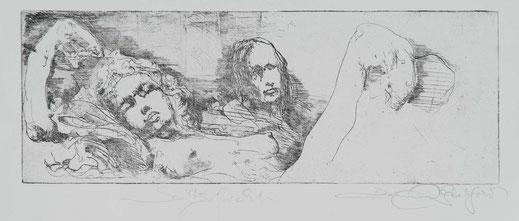 Druckgrafik Akt von 2 Frauen