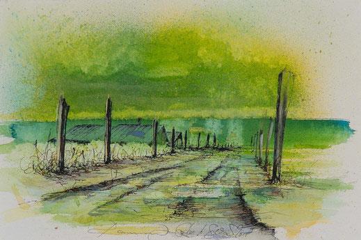 Aquarell Weg führt zu einem Bauernhaus Grüne Farben