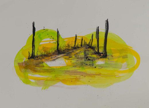 Aquarell Weg führt weg Gelbe Farben