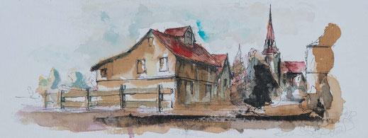 Aquarell Auschnitt aus einem ländichem Dorf mit einer Kirche