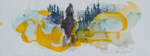 Aquarell Mädchen steht vor einer Waldschneise mit gelben Reflektionen