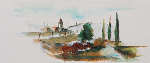 Bergkapelle Aquarell Toskanische Landschaft Erdige Farben