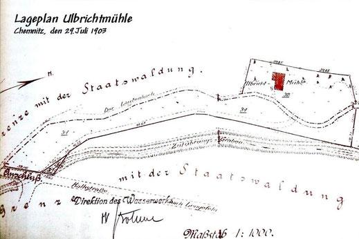 Bild: Ulbrichtsmühle Wünschendorf Neunzehnhain Lageplan 1903