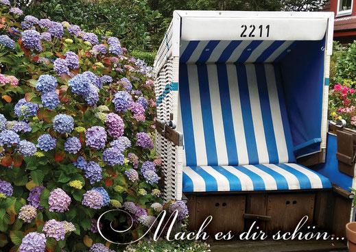 Lichtgarten Licht-Garten Kerzen Teelichter Simone Fischer Postkarte Postkarten Bücher Postkarte Strandkorb