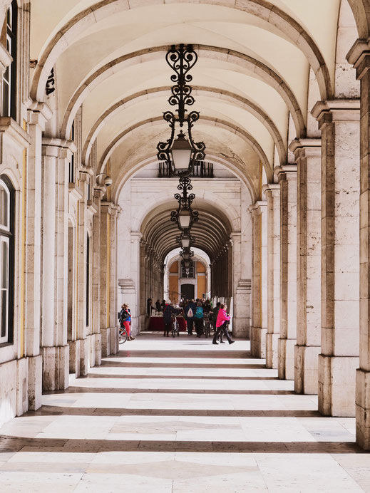 The beautiful arcades in Praça do Comércio