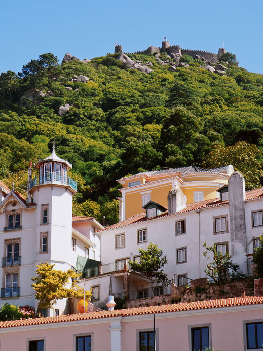 The Moorish Castle up in the hill - View from Sintra's old-town