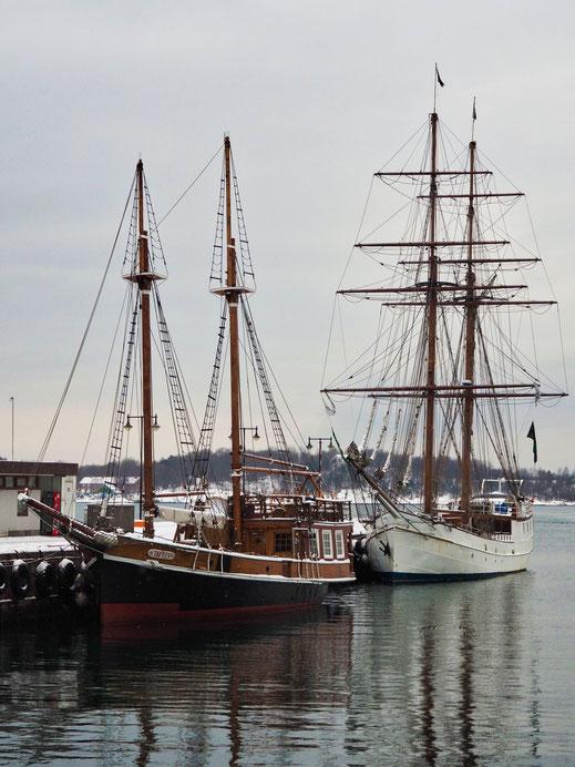 Oslo, Snow, Pipervika, Ships, Boats