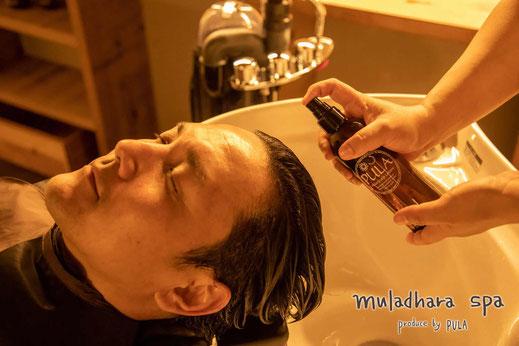 神戸市(兵庫県)のヘッドスパ専門店のヘッドスパの様子