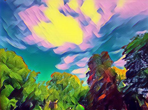 Wolkenbild mit digitalem Pinselstrich