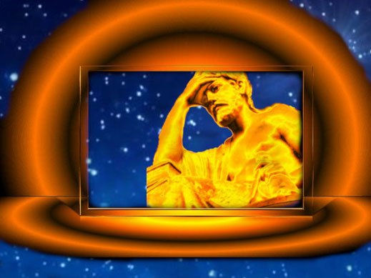 Ein antiker Denker sitzt auf einer fantasievollen Bühne. Hinter ihm leuchten die Sterne des Weltalls. Die Frage lautet: Was bedeutet emesis?