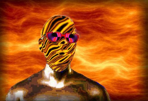 Ein Mann mit einer Atemschutzmaske versucht den fiktiven Weltuntergang zu überleben.