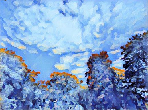 Wolkenbild mit digitalem Filte rund Schneeflocken Effekt