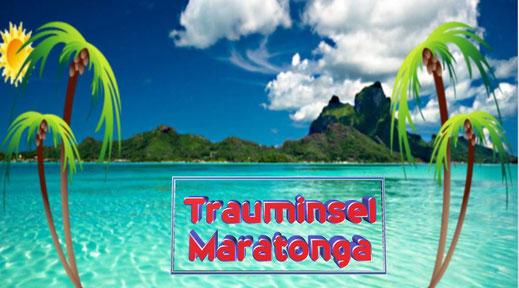 Dieses Bild zeigt symbolisch eine Trauminsel in der Südsee mit Plamen, blauem Himmel. und weißen Wolken