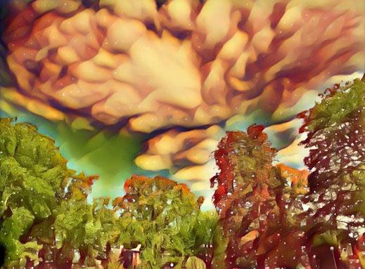 Wolkenbild mit bedrohlichem Effekt aus einem digitalen Filter erzeugt
