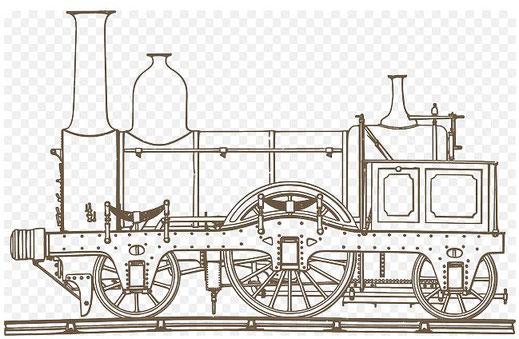 """Dieses Bilr zeigt eine Skizze der Lokomotive """"Adler"""", wie sie um 1825 zwischen Nürnberg und Fürth verkehrte."""