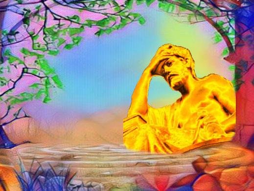 """Ein antiker Denker sitzt an einem märchenhaften See. er fragt sich: """"Wo wohnen die Elfen und Feen?"""" Das Thema lautet: Naturgeister, Elfen und Feen."""