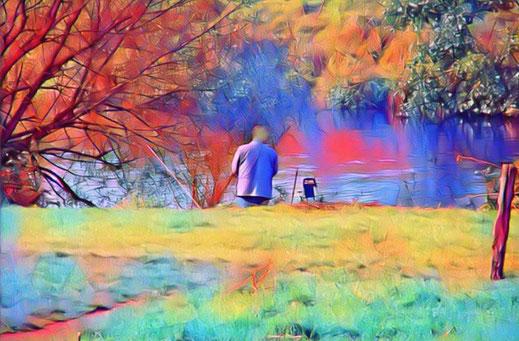 Dieses Bild zeigt einen geduldigen Angler.