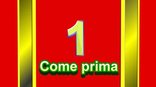 """Dieses Bild zeigt die Ziffer Eins auf Gold-rotem Hintergrund. Es symbolisiert den bekannten Schlager """"come prima"""". Dieser bedeutet: das erste Mal."""