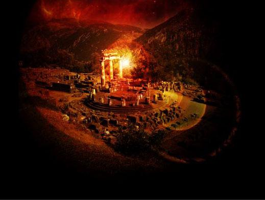 """Die Ruinen der Gebäude des """"Orakels von Delphi"""""""