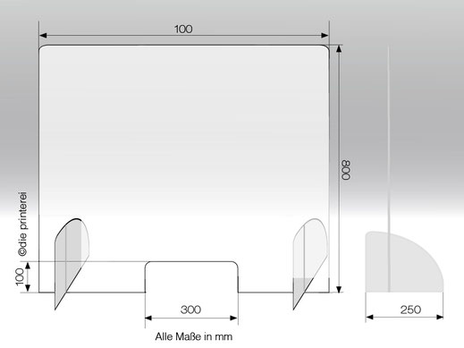 Spuckschutz aus Plexiglas, Schutzwand, Stecksystem in verschiedenen Formaten