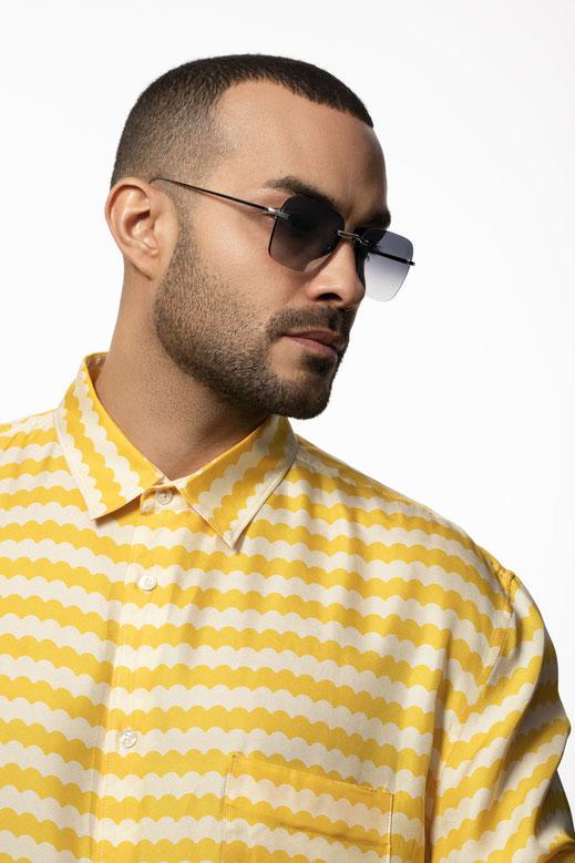 """Koenig Eyewear """"Parker Runway"""" Sonnenbrille aus 18-Karat Weissgold und Zeiss Brillengläser- 100% Swiss made"""