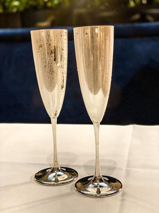 Flûte à Champagne aus Sterlingsilber, innen vergoldet