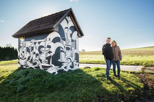 Eine von 13 Objekten in der Gemeinde Würmla, die von den KünstlerInnen besprüht wurden / Foto: Samuel Traber