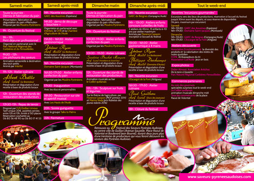 Programme Festival Saveurs Pyrénées Audoises