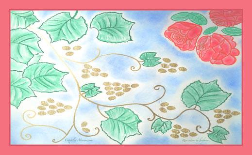fanfaron, foulard en soie, étole en soie, twill de soie, foulard made in france, coppélia marincovic, roses et raisins, aquarelle