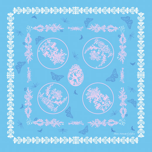 Foulard Marie Antoinette Fanfaron Made in France Carré de Soie Paris Dessin