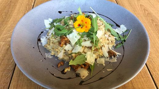 Einkorn-Risotto mit Eierschwammerl