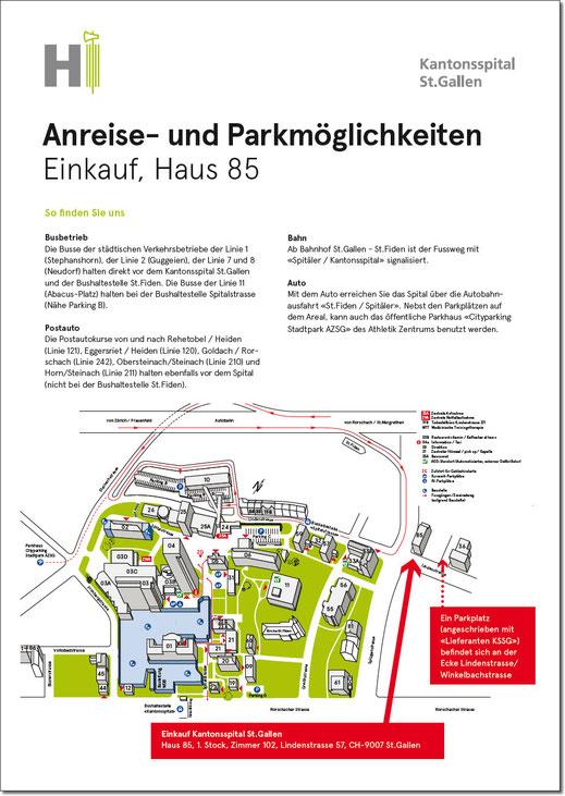 Anreise- und Parkmöglichkeiten - Kantonsspital St.Gallen