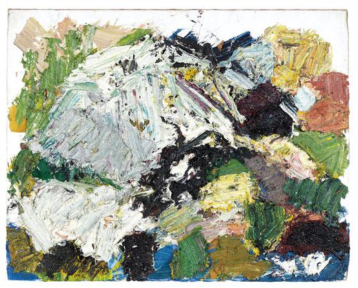 """Franz Grabmayr, """"Felsen"""", 2001. Öl auf Leinwand, 93 x 117 cm"""