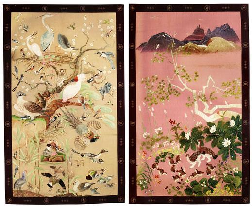 加賀地方花鳥図刺繍壁掛