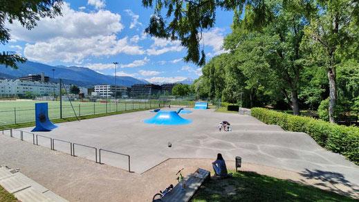 overview skatpark lohbach, hötting west, innsbruck, tirol, österreich