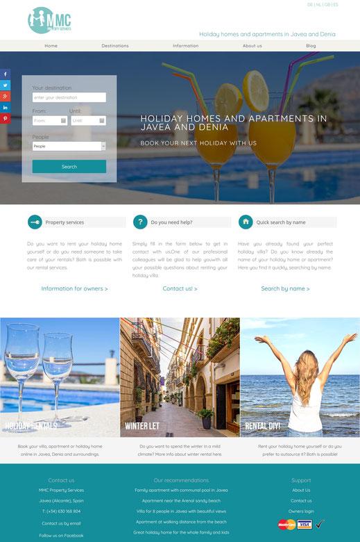 Website van mmcholidayrentals.com
