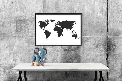 Weltkarte Illustration schwarz-weiß