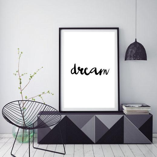 Typografie Poster, Typografie Print, Wandbild, Inspiration, Dream