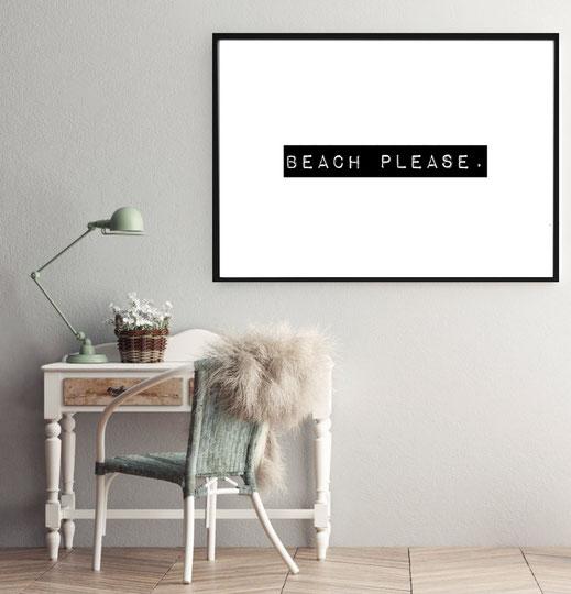Typografie Reisen, Poster - Beach please