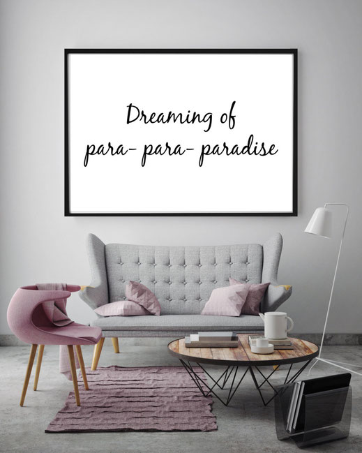 Typografie Poster, Typografie Print, Lifestyle, dreaming of paradise