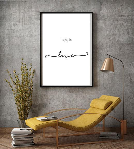 Typografie Print, Happy in Love