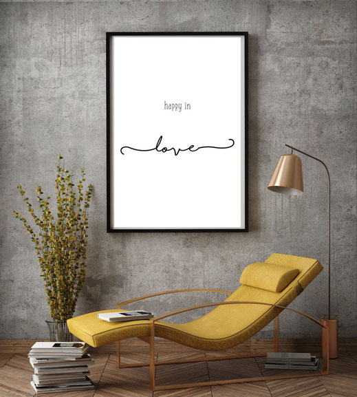 Typografie Poster, Typografie Print, Happy in Love