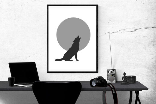 Illustration - schwarz-weiß - Wolf howling at the moon