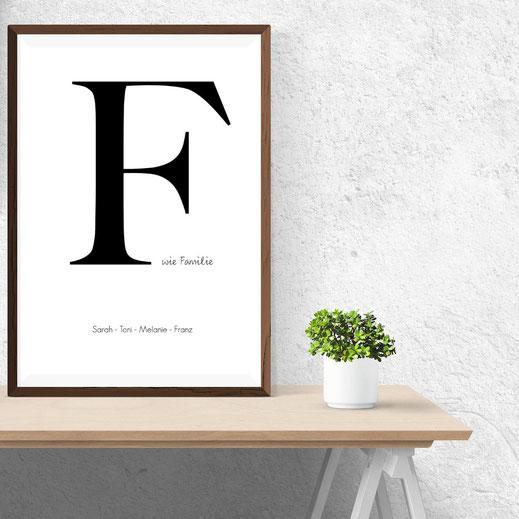 Typografie Poster, Personalisierte Family Prints | Personalisierbare Bilder