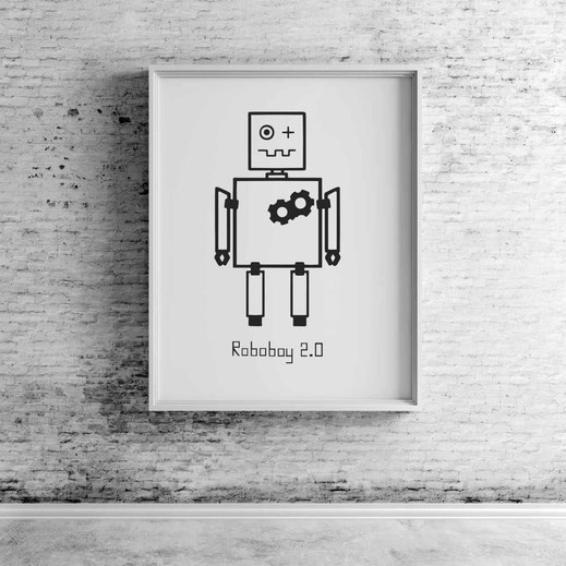 Illustration - schwarz-weiß - Roboboy