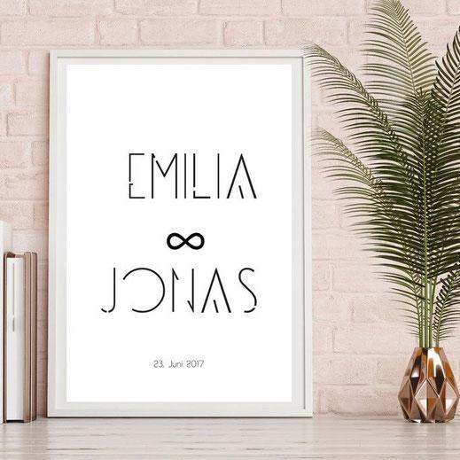 Typografie Poster, Personalisierte Wedding Prints | Personalisierbare Bilder zur Hochzeit