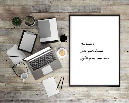 Typografie Motivation Poster - Be brave
